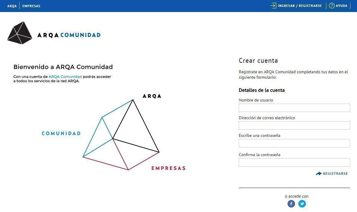 ARQA Comunidad registrarse