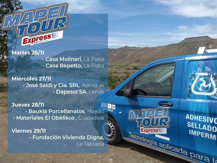 Mapei te comparte las fechas del Mapei Tour Express Noviembre