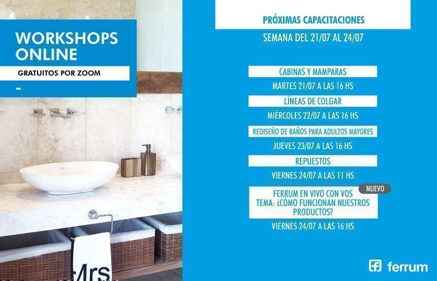 Cronograma de workshops de Ferrum del 21 al 24 de julio