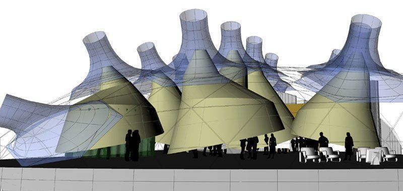 Digital model of the Installation on Space 01: side view.