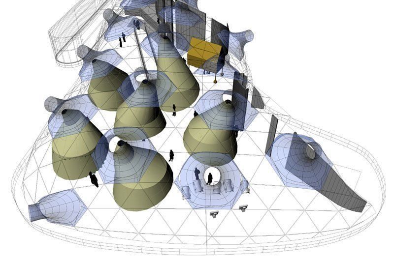 Digital model of the Installation on Space 01: top view.