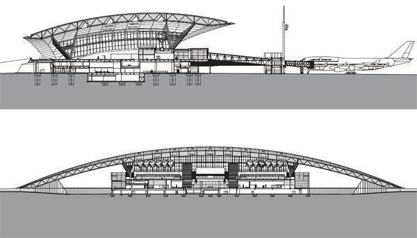 Latitudinal section. The gently arched roof provides a canopy over the access roads on one side of the building, and opens up wide views to the runway on the opposite side. Longitudinal section. The formal, symmetrical design solution to the project rises gently out of the largely fl at topography of the airport site.