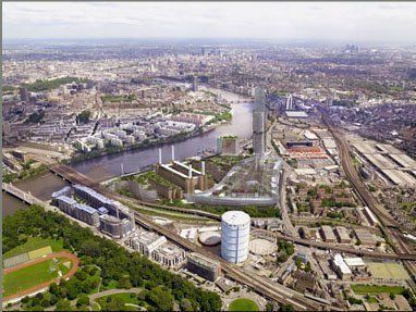 Aerial view of Battersea Power Station site
