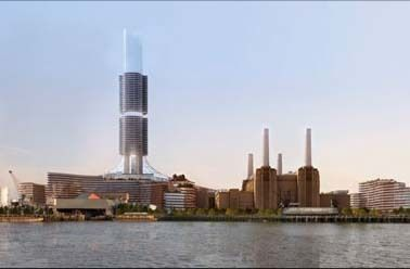 New Master Plan for Battersea Power Station Presented\View of Battersea Power Station site from north bank of River