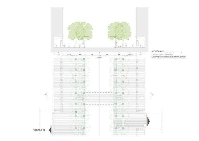 Sección planta tipo paseo, Proyecto de Remodelación de La Plaza de España, Paseo de La Independencia y Plaza de Aragón
