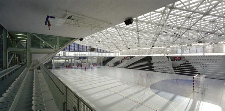 View of the sports hall from the telescopic stands