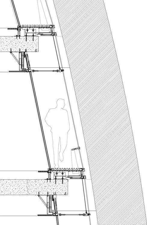 Detalle fachada curva