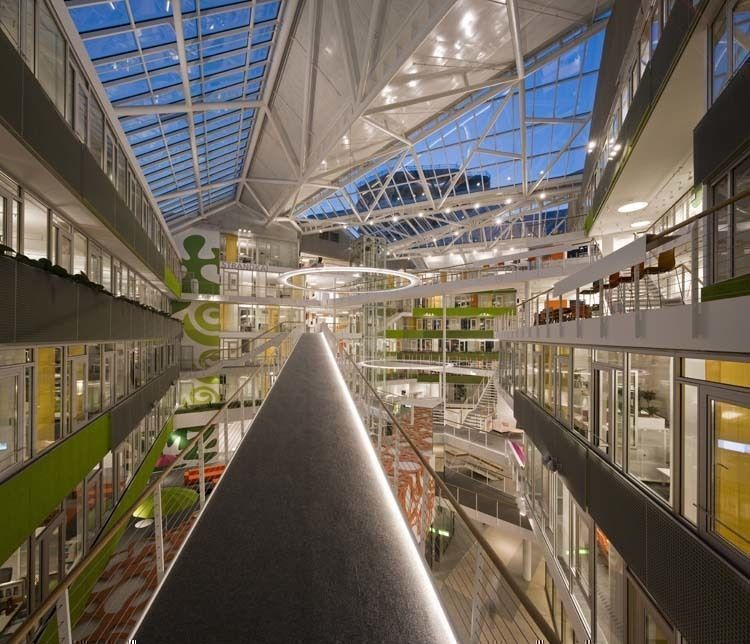 View from south side of Atrium at night