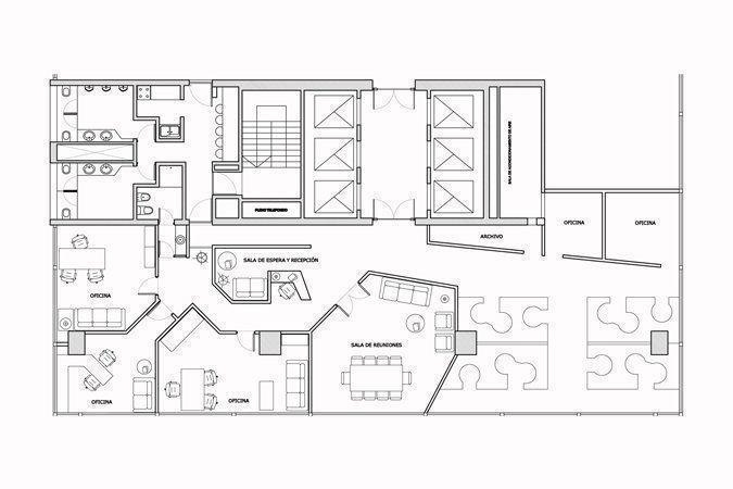 Oficinas galer a jard n arqa for Planta arquitectonica de una oficina
