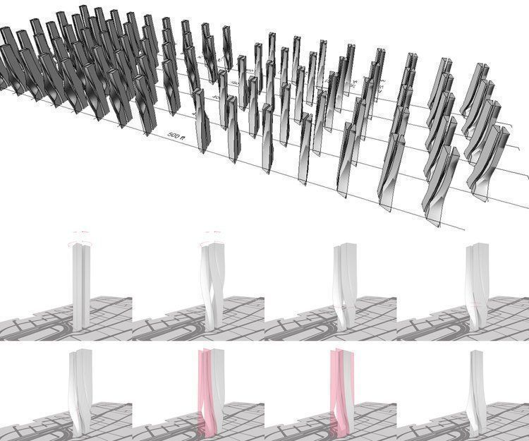 Grasshopper form-generation steps below and trimmed  Grasshopper-generated massing permutations above: parametrically  adjusted twist rotation, pinch height and amount, and counter-rotation