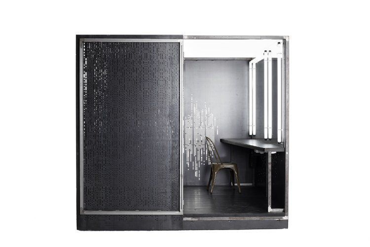 hair / make up cube # 01, 2009, 250x250x250 cm, micro-perforated steel