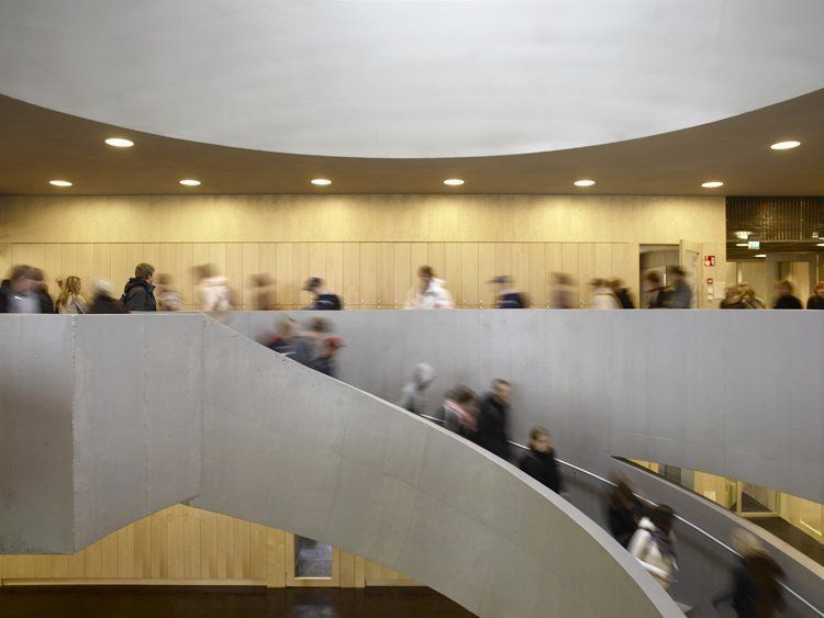 Main staircase with students