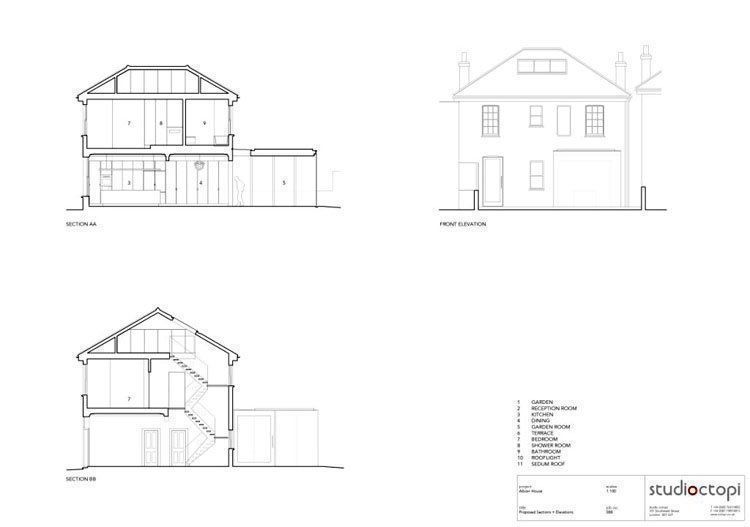 Elevations + sections