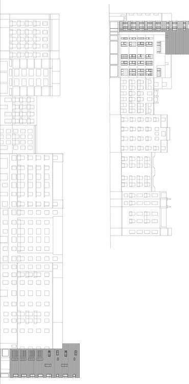 Edificio A, sección-alzado