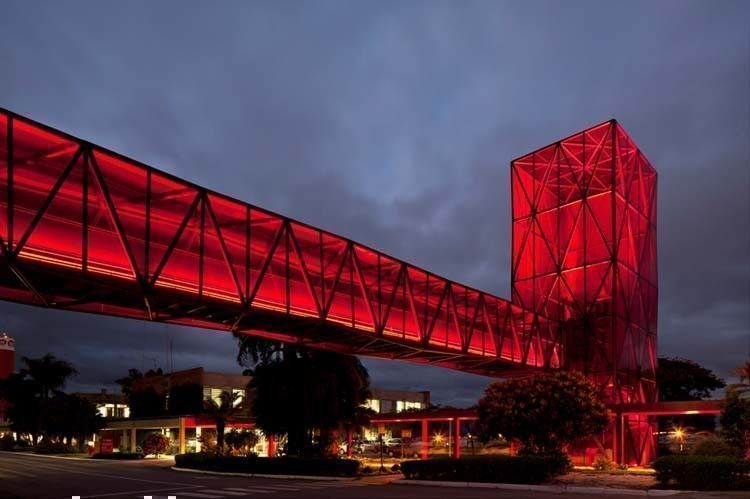 Night view of the first red tower and the footbridge from south