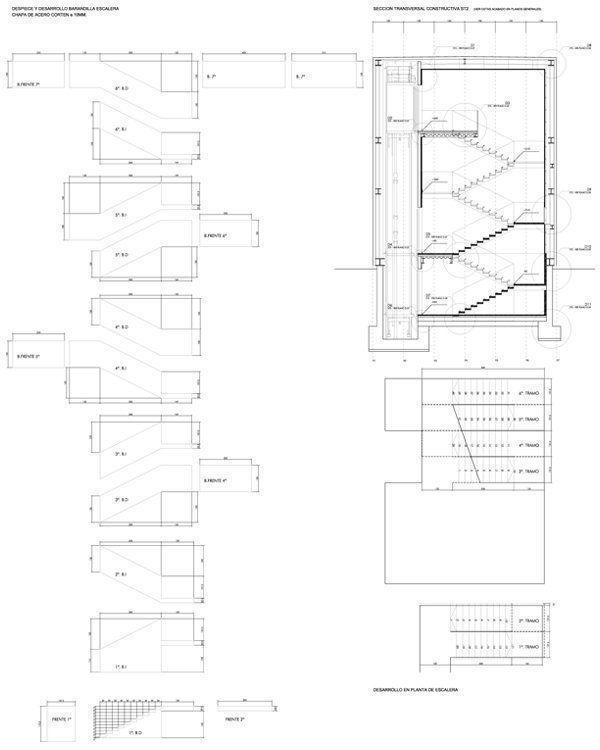 Sección constructiva y escalera