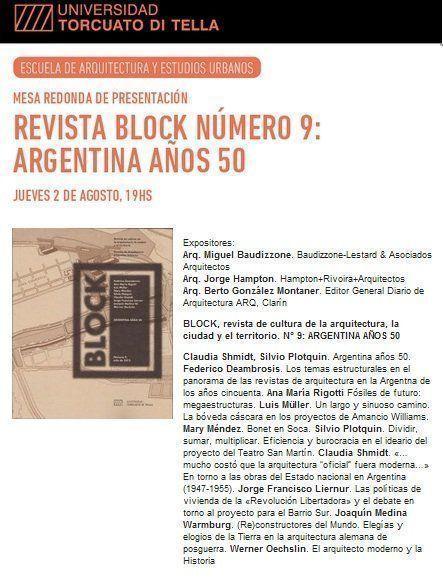 Mesa Redonda: Revista Block Nº9, Argentina Años 50