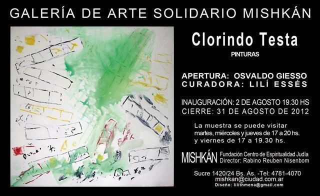 Muestra de Pinturas de Clorindo Testa, en Galería de Arte Solidario Mishkán