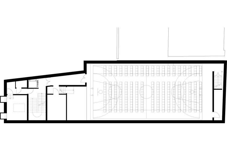 Basement level sports & perfomance hall