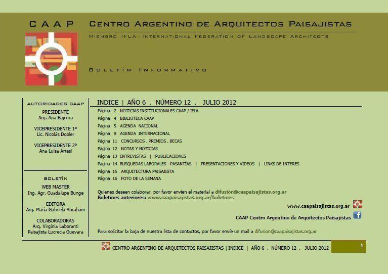 Boletín CAAP Centro Argentino de Arquitectos Paisajistas 2012, Nº 12