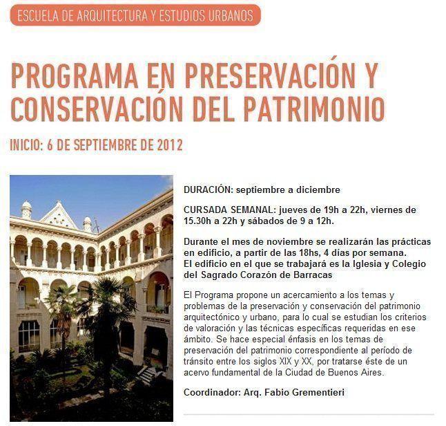 Programa en Preservación y Conservación del Patrimonio, en la UTDT