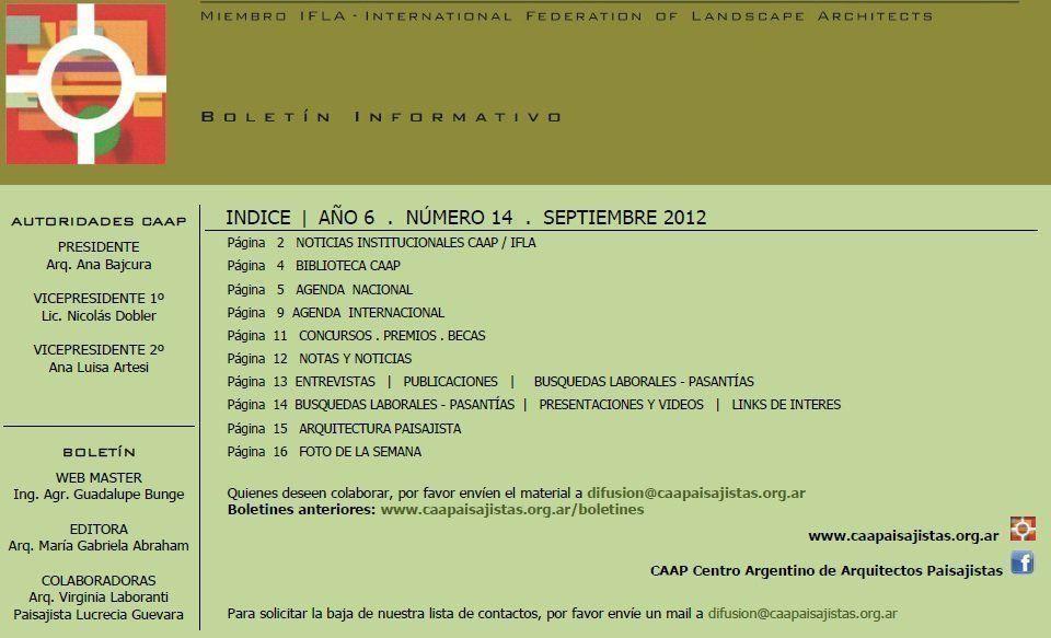 Boletín CAAP Centro Argentino de Arquitectos Paisajistas 2012, Nº 14