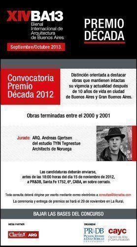 ARQA - Concurso, Convocatoria Premio Década 2012