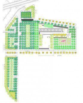 Plano general del parque y estacionamientos verdes.