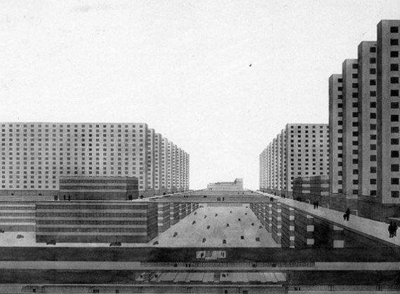 Ludwig Hilberseimer, Hochhausstadt (La Ciudad del Rascacielos), 1924.