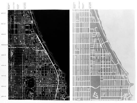 Ludwig Hilberseimer, Traffic redevelopment plan for the south side of Chicago, c.1955.