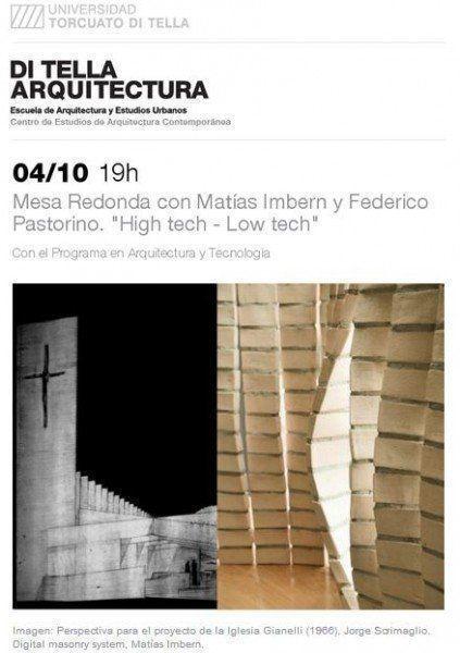 """ARQA -Mesa Redonda: """"High tech - Low tech"""" con Matías Imbern y Federico Pastorino, en la UTDT"""