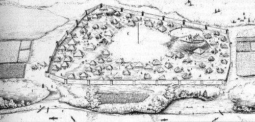 """Reproducción de Toqua, ciudad proto-cherokee, 1500 a.C. (actual Tennessee) """"The Toqua Site"""" Polhemus, Bogan y Chapman."""
