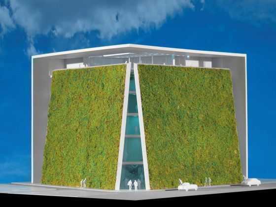 Recreacion virtual del aspecto exterior (con jardines verticales) que tendría el Museo de Arte, Arquitectura y Diseño de Emilio Ambasz.