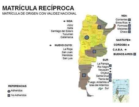Mapa de situación de la Matrícula Recíproca