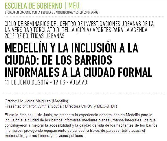 """Charla: """"Medellín y la inclusión a la ciudad: de los barrios informales a la ciudad formal"""""""