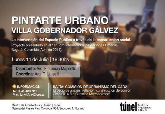 """Charla """"Pintarte Urbano Villa Gobernador Gálvez"""" , en Rosario"""