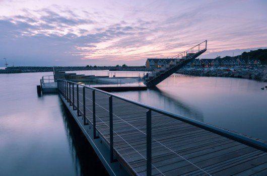 Baños en el Puerto Hasle, Dinamarca