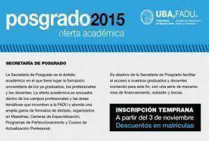 Posgrado FADU 2015, oferta académica