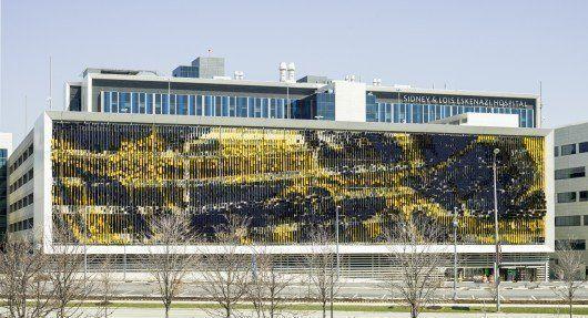 Fachada artística en la estructura de estacionamiento del Hospital Eskenazi, Indianápolis