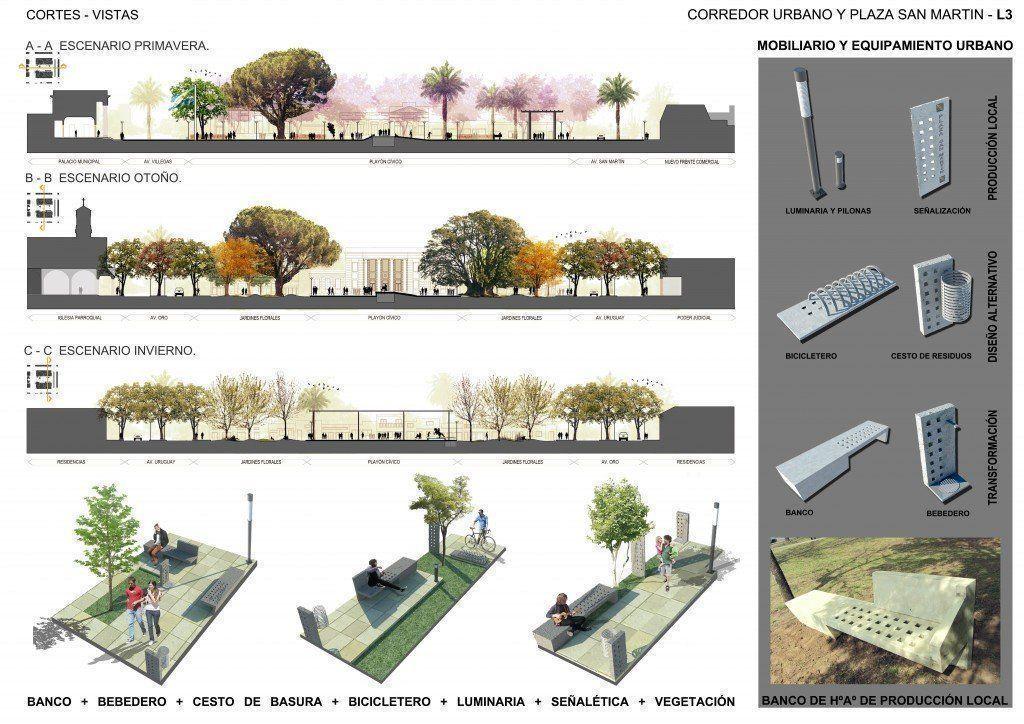 Concurso provincial de ideas y anteproyectos para el for Ejemplos de mobiliario urbano