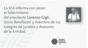 Arq. Lorenzo Gigli, su fallecimiento
