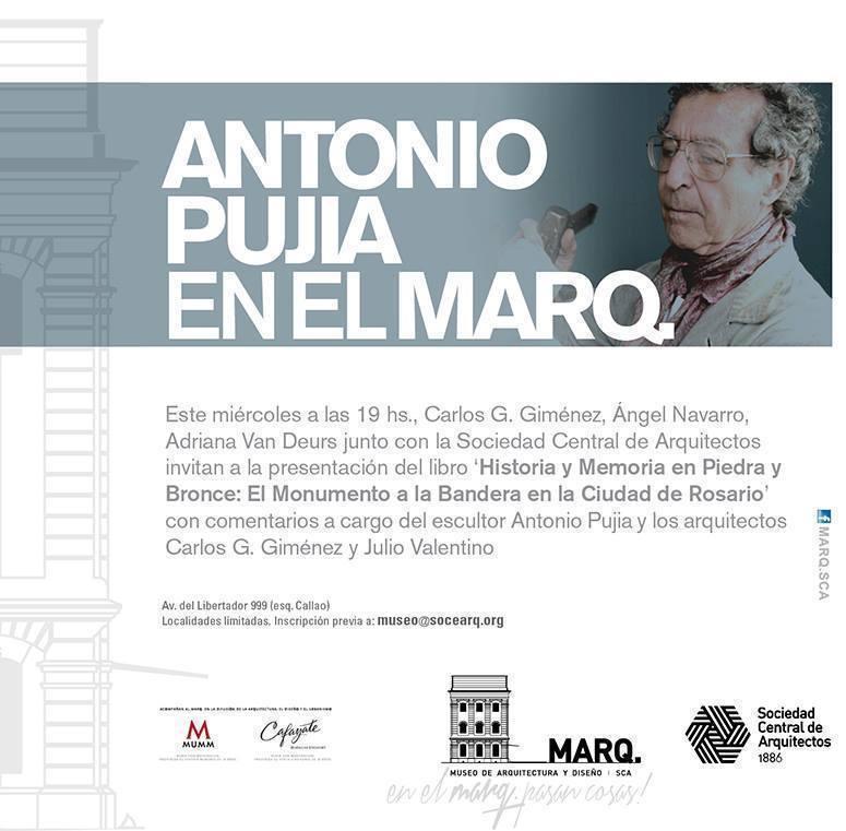 """Presentación del libro de Antonio Pujia: """"Historia y memoria en piedra y bronce"""", en el Marq"""