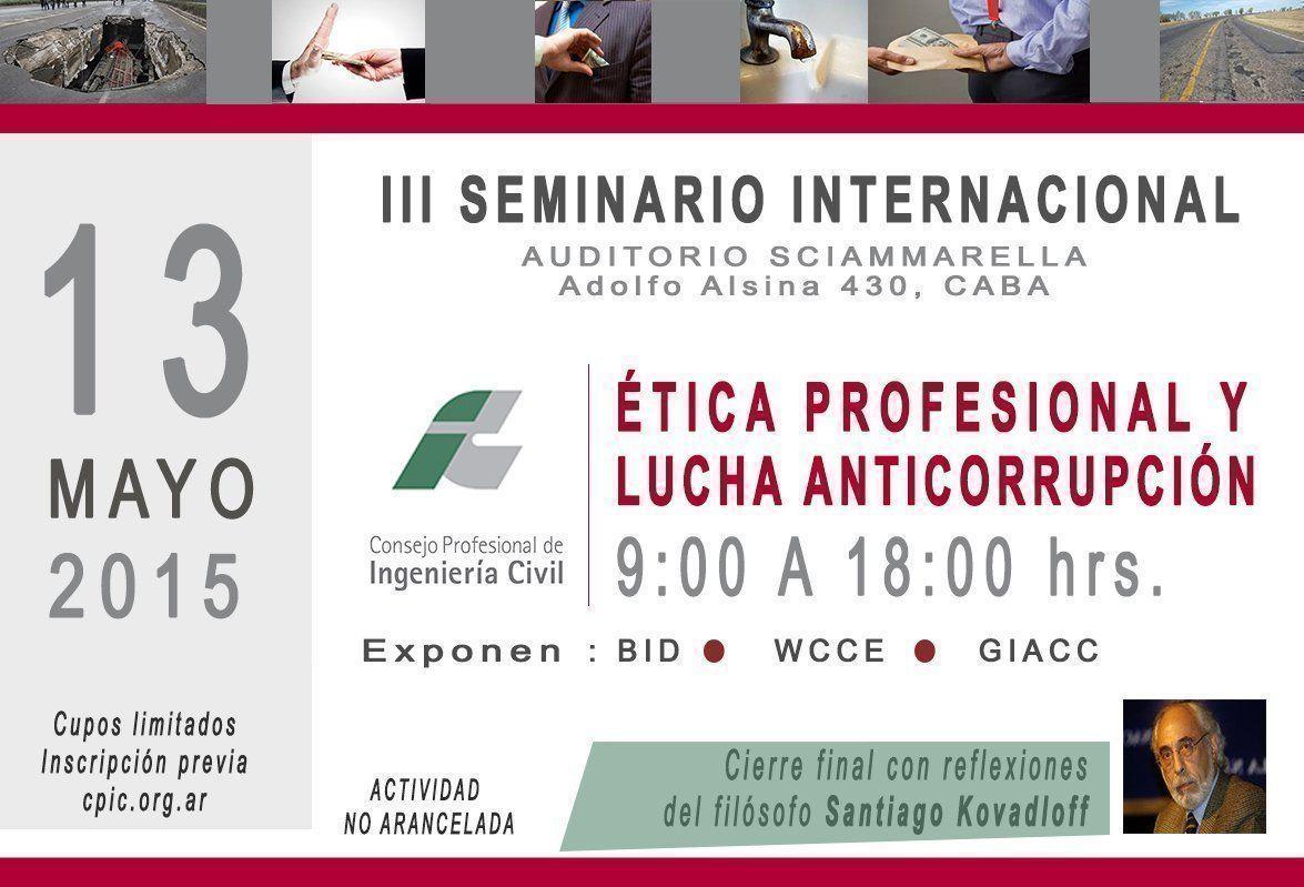 """III Seminario Internacional sobre """"Ética Profesional y Lucha Anticorrupción"""", en el CPIC"""