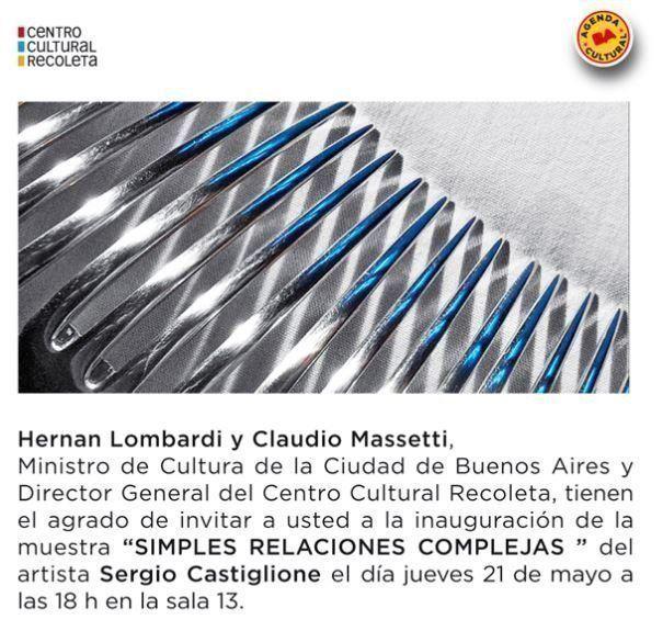 Sergio Castiglione expondrá en el Centro Cultural Recoleta