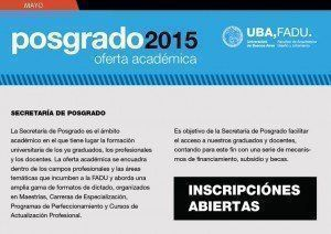 Posgrado UBA – FADU / Oferta Académica Mayo 2015