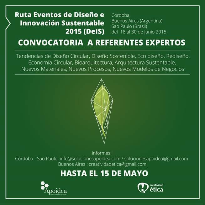 Ruta Eventos de Diseño e Innovación Sustentable 2015, convocatoria