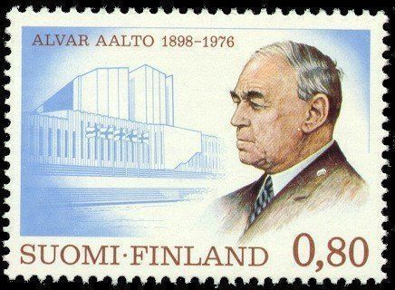Alvar-Aalto-1976-Sello-de-ochenta-céntimos-de-marco-en-1976