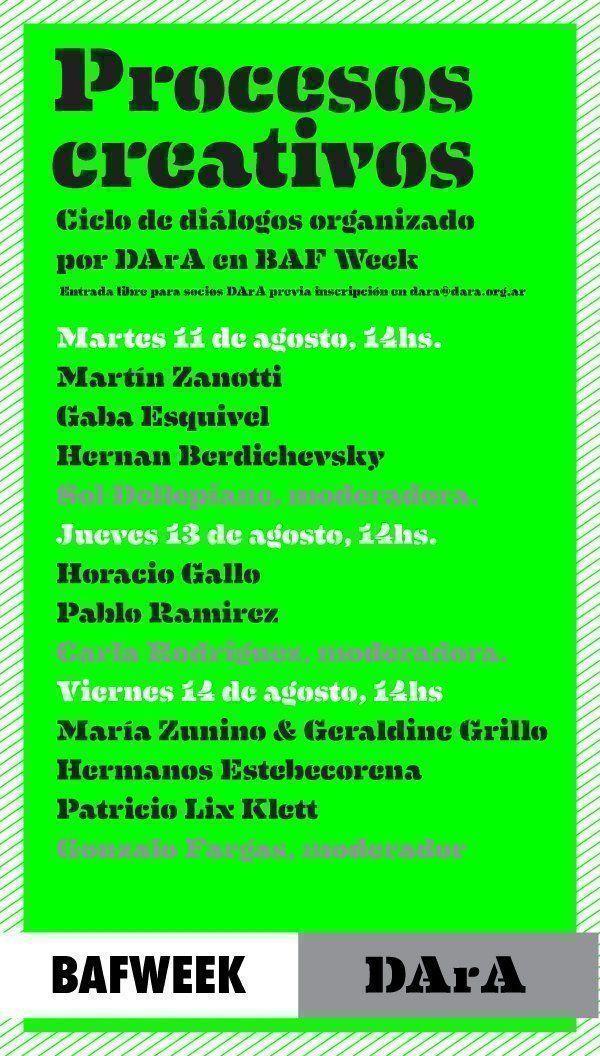 Procesos creativos: Ciclo de diálogos organizado por DArA en BAF Week