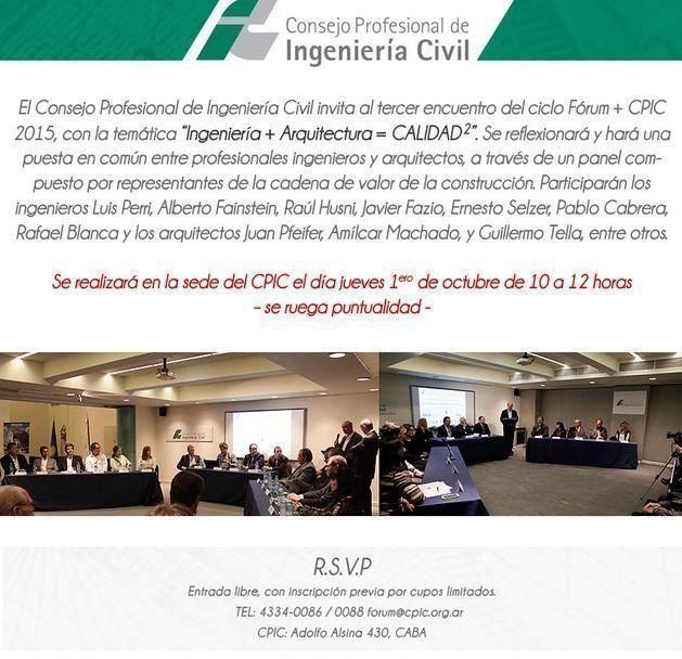 """II Fórum CPIC """"Ingeniería + Arquitectura = CALIDAD²"""""""
