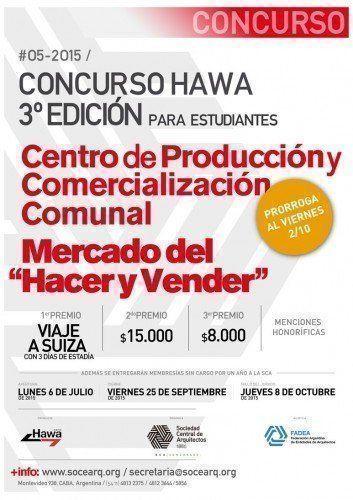 """Prórroga Concurso Nacional Hawa 2015, para estudiantes """"Mercado del Hacer y Vender"""" Centro de Producción y Comercialización Comunal"""